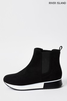 River Island Black Rum Chelsea Boots