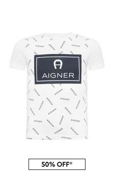 Aigner Boys White Cotton T-Shirt