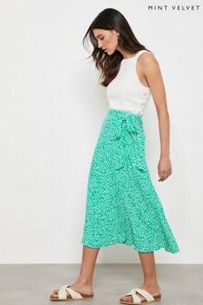 Mint Velvet Green Verity Print Wrap Skirt