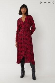 Warehouse Red Leopard Wrap Midi Dress