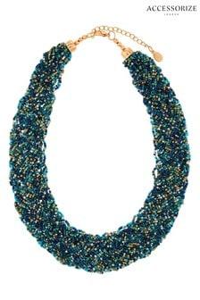 Accessorize Green Gemma Beaded Bib Necklace