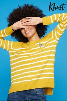 Khost Yellow Poodle Stripe V-Neck Jumper