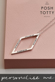Personalised Geometric Drop Necklace by Posh Totty Designs