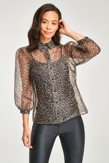 Sheer Organza Puff Sleeve Shirt