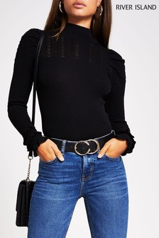 River Island Black Triple Frill Puff Sleeve Top