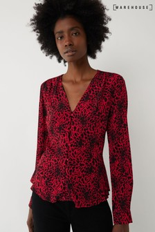 Warehouse Red Leopard Button Through Top