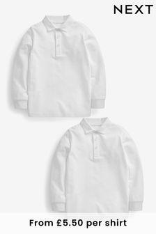2 Pack Long Sleeve Polo Shirts (3-16yrs)