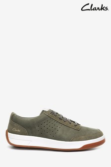 Clarks Olive Suede Hero Air Lace Trainers