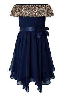 Monsoon Blue Vera Bardot Hanky Hem Dress