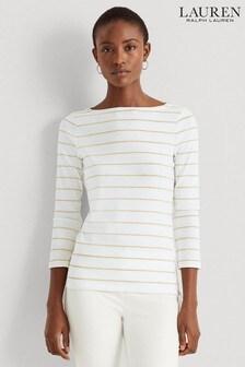 Lauren Ralph Lauren White Gold Stripe Hideko Jersey Top