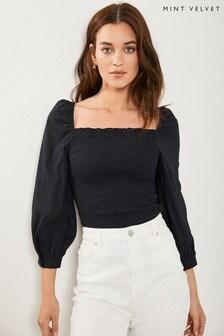 Mint Velvet Black Cotton Shirred T-Shirt