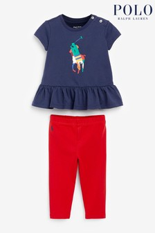 Ralph Lauren Navy And Red Polo T-Shirt And Legging Set