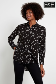 F&F Multi Black Star Longline Spun Shirt