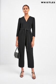 Whistles Black Hallie Zip Front Crepe Jumpsuit