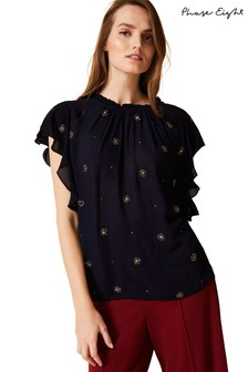 Phase Eight Blue Marcie Embellished Blouse