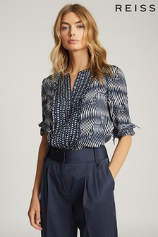 Reiss Blue Rebecca Printed Blouse