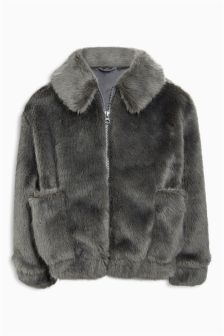 Faux Fur Bomber Jacket (3-16yrs)
