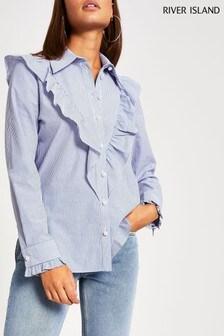 قميص بوبلين كشكش Fifi مقلم أزرق من River Island