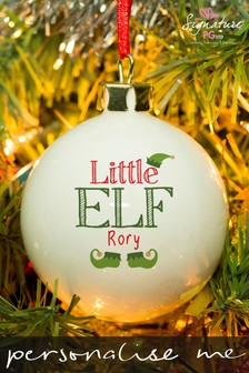 Personalised Little Elf Bauble by Signature Gifts
