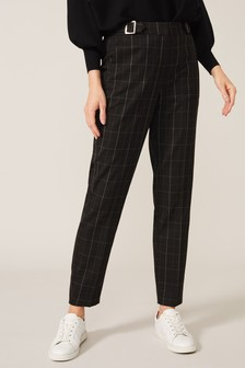 Phase Eight Black Vienna Check Tapered Trousers