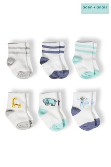 aden + anais Blue Baby Socks Six Pack Gift Set