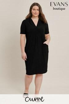 Evans Black Curve Short Sleeve Pocket Dress