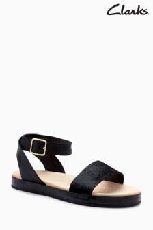 Czarne sandały z paskami na kostkę Clarks Botanic