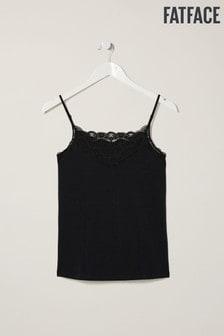 FatFace Black V-Neck Lace Vest