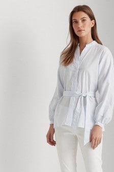Lauren Ralph Lauren® Pale Blue Stripe Cotton Wrap Shirt
