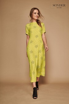 Sonder Studio Green Star Print Midi Dress
