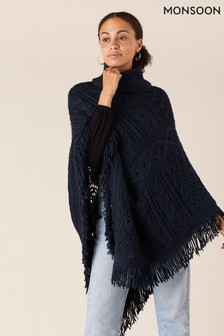 Monsoon Blue Fringe Trim Chunky Knit Poncho