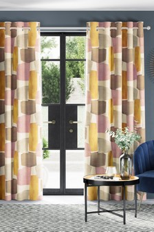 Abstract Print Eyelet Curtains
