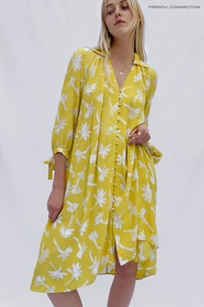French Connection Yellow Abita Drape Belted Dress