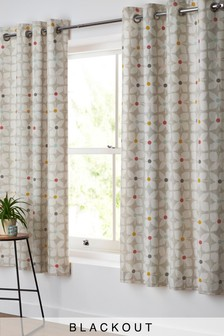 Retro Geo Floral Blackout Eyelet Curtains