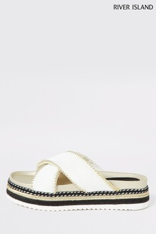 River Island White Studded Cross Strap Flatform Sandals