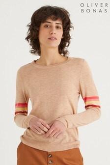 Oliver Bonas Stripe Sleeve Camel Brown Knitted Jumper