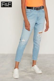 83c385fb37 F&F Light Wash Lightwash Mom Belted Jeans