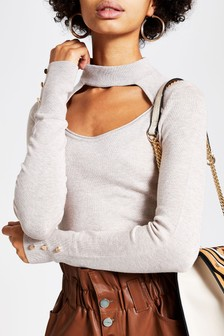 River Island Brown Light Choker Detail Jumper
