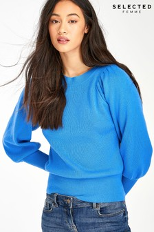 Selected Femme Blue Ballon Sleeve Jumper