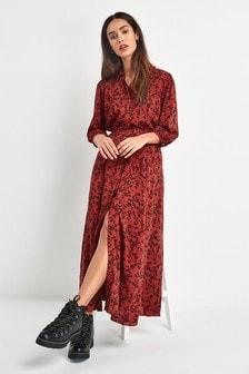 Платье-рубашка макси с поясом