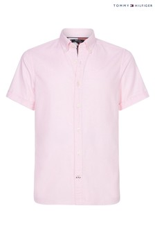 Tommy Hilfiger Pink Slim Cotton Linen Dobby Short Sleeve Shirt