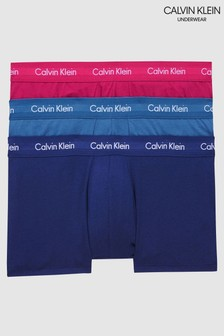 Calvin Klein Blue Cotton Stretch Low Rise Trunks 3 Pack