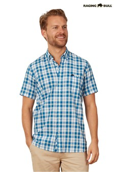 Raging Bull Blue Short Sleeve Check Shirt