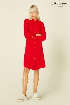L.K.Bennett Red Miller Crepe Shirt Dress