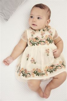 Платье с цветочной вышивкой (0 мес. - 2 лет)