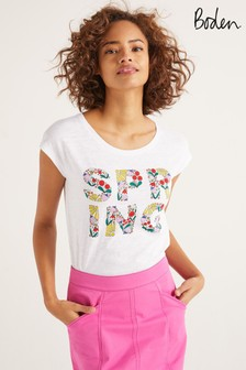 Boden White Robyn Jersey T-Shirt