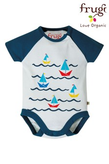Frugi White GOTS Organic Short Sleeve Bodysuit With Boat Print