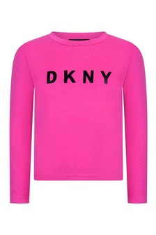 Girls Fuchsia Long Sleeve Jersey T-Shirt