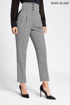 River Island Black/White Dogtooth Trousers
