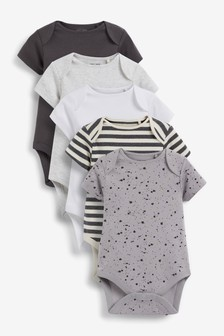 5 Pack Plain Short Sleeve Bodysuits (0mths-3yrs)